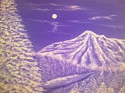 Snowy Trees Paintings - Purple snow  by Irina Astley
