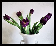 Cards Vintage Framed Prints - Purple Tulips Framed Print by Marsha Heiken