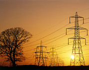 Transmission Prints - Pylons And Power Lines At Sunset Print by David Parker