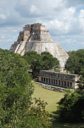 Travelpixpro Posters - Pyramid of the Magician and Columns Group Structure at Uxmal Mexico Poster by Shawn OBrien