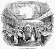 Meetinghouse Prints - Quaker Meeting, 1843 Print by Granger