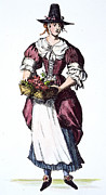 Quaker Hat Framed Prints - QUAKER WOMAN 17th CENTURY Framed Print by Granger