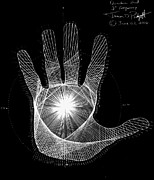 Pi Drawings Posters - Quantum Hand through my eyes Poster by Jason Padgett