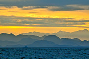 Queen Charlotte Strait Prints - Queen Charlotte Sunset Print by Michael Potts