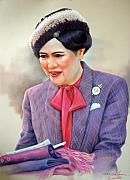 Thai Drawings - Queen Sirikit by Chonkhet Phanwichien