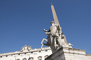 Statuary Photos - Quirinal Obelisk in front of Palazzo del Quirinale. Rome by Bernard Jaubert