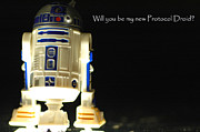 Action Figure Framed Prints - R2D2 card Framed Print by Micah May