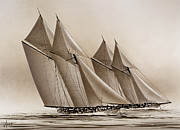 Nautical Greeting Card Prints - Racing Yachts Print by James Williamson