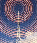 Technological Communication Prints - Radio Mast With Radio Waves Print by Mehau Kulyk