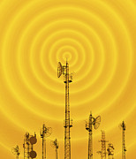 Communications Technology Posters - Radio Masts With Radio Waves Poster by Mehau Kulyk