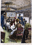 Belle Epoque Photo Prints - Railroad: Dining Car, 1880 Print by Granger