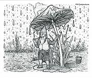 Rain Drawings - Rain Gnome  by Bill Perkins