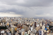 Office Space Prints - Rain Shower Approaching Downtown Sao Paulo Print by Jeremy Woodhouse
