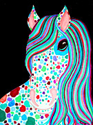 Colorful Animals Drawings Framed Prints - Rainbow Spotted Horse Framed Print by Nick Gustafson