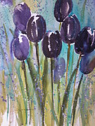 Spring Time Paintings - Rainy Day Tulips by Sandra Strohschein