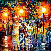 Afremov Framed Prints - Rainy Evening Framed Print by Leonid Afremov