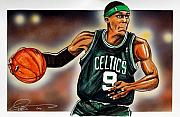 Boston Celtics Framed Prints - Rajon Rondo  Framed Print by Dave Olsen