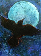 Black Bird.flying Art Painting Posters - Raven and Blue Moon Poster by Carol Suzanne Niebuhr