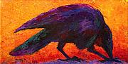 Crows Paintings - Raven by Marion Rose