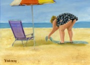 Beach Umbrella Framed Prints - Ready For A Tan Framed Print by Vicky Watkins