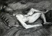 Charcoal Drawings Drawings Framed Prints - Reclining Female Nude Framed Print by Roz McQuillan