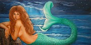 Mermaid Prints - Reclining Mermaid Print by Joni McPherson