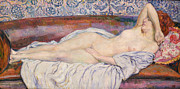 Erotic Paintings - Reclining Nude by Theo van Rysselberghe