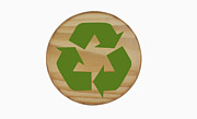 Garbage Prints - Recycling Symbol on Wood Print by Blink Images