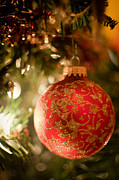 Hallmark Metal Prints - Red and Gold Christmas Ball Metal Print by Debbie Pippin