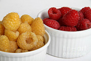 Raspberry Red Prints - Red And Golden Raspberries Print by Photo Researchers, Inc.