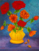 Comtemporary Prints - Red And Orange Flowers Print by Pamela Allegretto