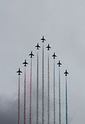 Defense Photo Prints - Red Arrows vertical Print by Jasna Buncic
