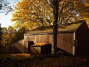 Old England Metal Prints - Red Barn at Dawn Metal Print by Joshua Francia