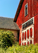 Farm Building Posters - Red Barn Poster by HD Connelly