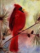 Show Mixed Media - Red Cardinal by Mira Dimitrijevic