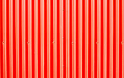 Galvanize Metal Prints - Red corrugated metal Metal Print by Tom Gowanlock