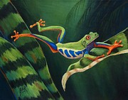 Red-eyed Tree Frog Painting Prints - Red Eyed Tree Frog Leaping Print by Barbara Ann Robertson
