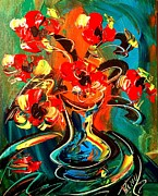 Black History Paintings - Red Flowers by Mark Kazav