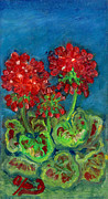 Red Geraniums Framed Prints - Red Geranium Framed Print by Anna Folkartanna Maciejewska-Dyba