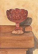 Old Glass Prints - Red Glass Chalice Print by Ken Powers