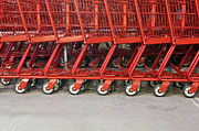 Grocery Store Prints - Red Grocery Carts Print by Paul Edmondson