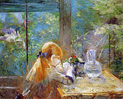 Glass Vase Framed Prints - Red-haired girl sitting on a veranda Framed Print by Berthe Morisot