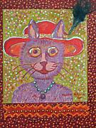 Storybook Mixed Media Prints - Red Hat Cat Print by Marlene Robbins