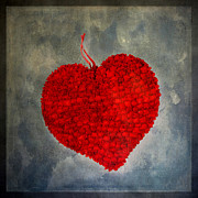 Textured Effect Prints - Red heart Print by Bernard Jaubert