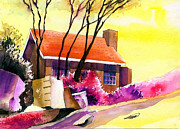 Peaceful Scenery Mixed Media Prints - Red House Print by Anil Nene