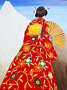 Fan Art Painting Originals - Red Kimono by Dorota Nowak