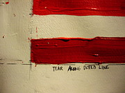 Betsy Ross Paintings - Red Line by Robert Cunningham