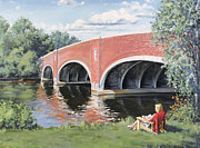 Cambridge University Paintings - Red of the Charles by Steven A Simpson