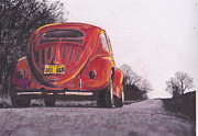 Volkswagen Pastels Prints - Red Oxo Print by Sharon Poulton