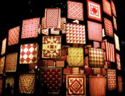 Quilts Photos - Red Quilts 3 by Maria Scarfone